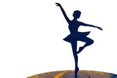 芭蕾舞女演员在白色背景的剪影雕象 库存照片