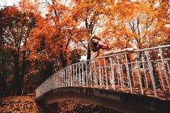 年轻芭蕾舞女演员在秋天公园跳舞早晨 免版税图库摄影
