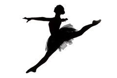 年轻芭蕾舞女演员照片跃迁的 免版税库存图片