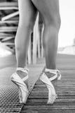 从芭蕾舞女演员的两只脚 图库摄影