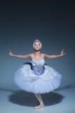 芭蕾舞女演员的画象芭蕾tatu的在蓝色背景 库存照片