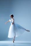 芭蕾舞女演员的画象蓝色背景的 库存图片