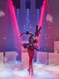 芭蕾舞女演员的画象黑天鹅的角色的 免版税库存图片