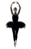 芭蕾舞女演员舞蹈家跳舞妇女被隔绝的剪影 免版税库存照片
