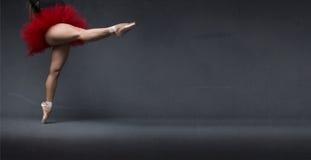 芭蕾舞女演员表明了空间与点 免版税库存图片