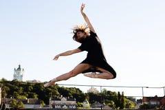 芭蕾舞女演员画象屋顶的 免版税图库摄影