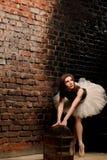 芭蕾舞短裙的芭蕾舞女演员在砖墙附近 库存图片