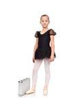 黑芭蕾舞短裙的芭蕾舞女演员有案件的 免版税图库摄影