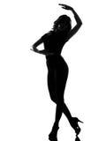 芭蕾跳舞剪影妇女 免版税库存照片