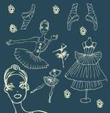 芭蕾doodley图标设置了妇女 免版税库存图片