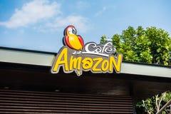 芭达亚、泰国1月18日2018年亚马逊标志和咖啡馆给予co特权 免版税库存照片