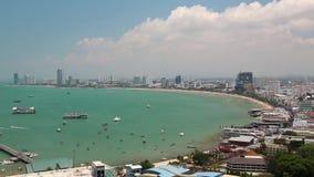 芭达亚市和暹罗湾,泰国全景视图  股票录像