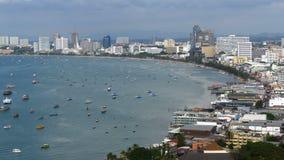 芭达亚市海滩和暹罗湾全景在泰国 泰国,芭达亚,亚洲 股票录像