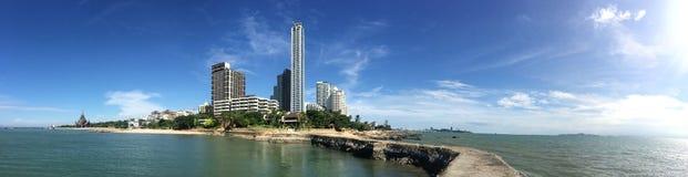 芭达亚市,泰国全景射击  免版税库存图片