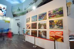 芭达亚浮动市场是普遍的旅行目的地在芭达亚 库存照片