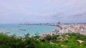 芭达亚海滩视图 免版税图库摄影