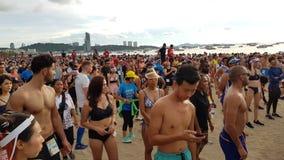 PATTAYA, THAILAND - JUNE 8, 2019: a part of runner , participant of Pattaya Bikini Run 2019 in Pattaya, Thailand on JUNE 8, 2019