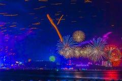芭达亚,泰国- 2012 1月12月31, 1日2013年:五颜六色 免版税库存照片