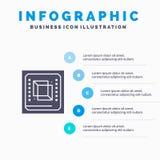 芯片,计算机,Cpu,硬件,处理器坚实象Infographics 5步介绍背景 向量例证