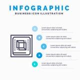 芯片,计算机,Cpu,硬件,处理器线象有5步介绍infographics背景 库存例证
