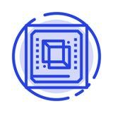 芯片,计算机,Cpu,硬件,处理器蓝色虚线线象 库存例证