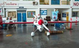 芯片Mapoles没有` s的飞机 40个`美国小姐`航空器在海军航空兵的U-Tapao塑造在空气种族1世界杯泰国的Cassutt Slipknot 2017年 免版税库存图片