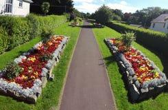 花、灌木和植物在被围住的庭院里 免版税库存照片