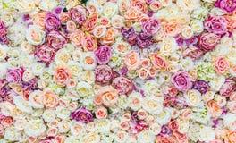花与使红色和白玫瑰,婚姻的装饰惊奇的墙壁背景,手工制造 免版税库存图片