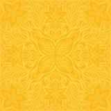 花以黄色,在时髦时尚葡萄酒样式的五颜六色的花卉墙纸背景坛场样式 皇族释放例证