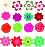 花剪贴美术-套16朵花 免版税库存照片