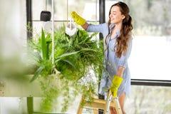 年轻花匠在有绿色植物的橘园 免版税库存图片