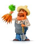 花匠用红萝卜和铁锹 免版税库存照片