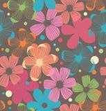 花卉与花的雏菊样式无缝的背景 免版税图库摄影