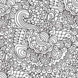 花卉乱画和曲线概述装饰无缝的样式 免版税库存照片