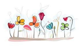 花卉乱画摘要五颜六色的花传染媒介背景 免版税库存图片