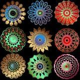 花卉五颜六色的传染媒介坛场样式 装饰回合巴洛克式和种族样式坛场集合 蔓藤花纹花 葡萄酒 库存例证