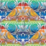 花卉五颜六色的手拉的无缝的样式 葡萄酒传染媒介双桅船 免版税图库摄影