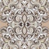 花卉佩兹利印地安棕色华丽无缝的样式 免版税图库摄影