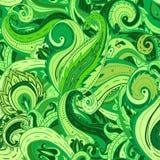 花卉佩兹利印地安绿色华丽无缝的样式 免版税库存照片