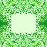 花卉佩兹利绿色框架 免版税库存图片