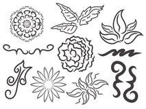 花卉元素组装 免版税库存照片