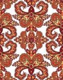 花卉几何样式东方花装饰品 免版税图库摄影