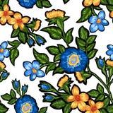 花卉刺绣的无缝的样式 免版税图库摄影