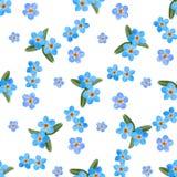 花卉勿忘草花无缝的样式,水彩例证 图库摄影