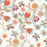 花卉华丽模式无缝的郁金香 免版税图库摄影