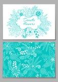 花卉卡片设计、花和叶子乱画元素 库存例证