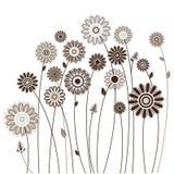 花卉卡片,风格化花花束  免版税图库摄影
