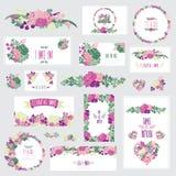 花卉卡集 免版税库存图片