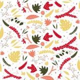 花卉叶子五颜六色的无缝的样式在手中被画的样式 库存例证