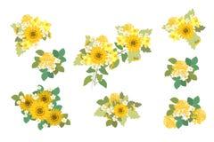 花卉向日葵,水仙,草莓开花减速火箭的葡萄酒背景 向量例证